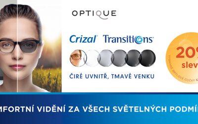 Sleva 20% na samozabarvující brýlová skla Crizal s Transitions