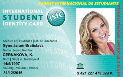 Nově akceptujeme studentskou kartu ISIC